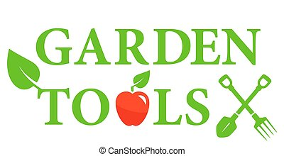 garden tools icon with red apple