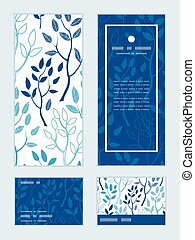 Vector blue forest vertical frame pattern invitation greeting, RSVP and thank you cards set