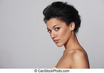 Beauty closeup profile portrait of beautiful woman - Beauty...
