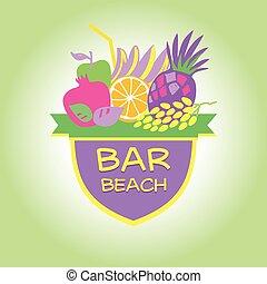 Template vector logo. Beach bar, party.