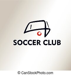 Template vector logo Football Soccer Club Ball in White...