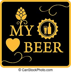 my love beer icon with hop and beer bottle cap