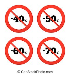 Sale discount icons Special offer price signs - No, Ban or..