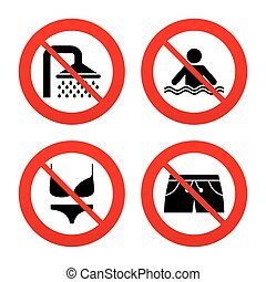 Swimming pool icons. Shower and swimwear signs. - No, Ban or...