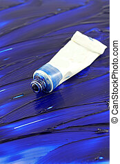 Artists colorful blue paint - Blue artists oil paint tube...