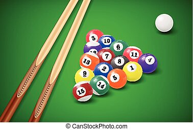 Billiard balls in a pool table. EPS 10