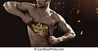 Golden man tearing up his chest