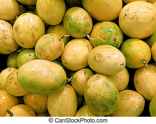 Passion fruit or maracuya background, delicious tropical...