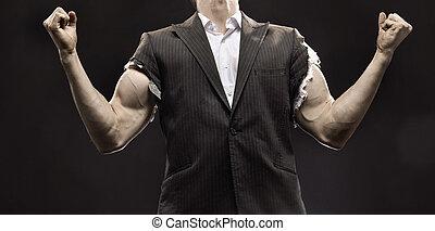 Muscular, homem negócios, alcançar, Um, vida,...