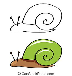Funny snail. vector - Funny snail. Contour and painted....