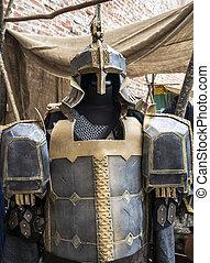 fantasía, medieval, metal, armadura, protector, uso,...