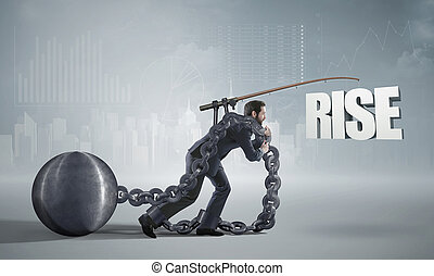 Ambitious businessman heading for a rise - Ambitious...
