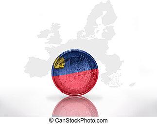 euro coin with liechtenstein flag on the european union map background