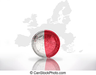 euro coin with maltese flag on the european union map...