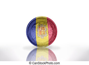 euro coin with andorran flag on the white background