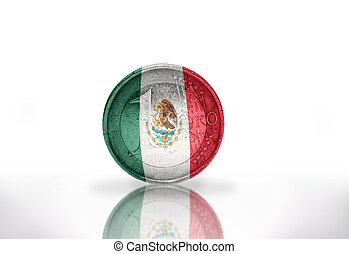 euro coin with mexican flag on the white background