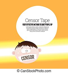 Censor Tape - Vector cartoon illustration of a man with a...