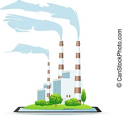 Power Plant Icon - Power Plant on Tablet Icon isolated on...