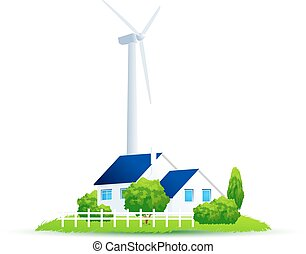 Eco House. Illustration of green energy for the house on a small plot of land. Wind Power Turbine.