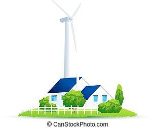 Eco House Illustration of gr