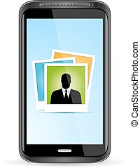 Touchscreen Smart Phone with Icon of Photo Application. Isolated Vector Illustration.
