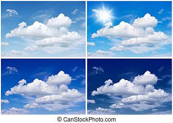 Quatro, Inverno, primavera, Outono, céu, meio ambiente, fundo, estações, verão