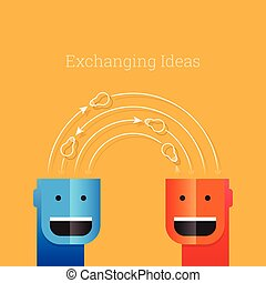 Exchanging Ideas - Vector illustration of conceptual people...