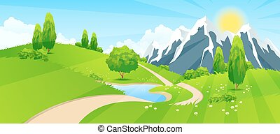 Green Landscape with Road and Mountains