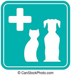 veterinary icon with white animal silhouette