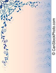musical background - musical notes and decorative pattern on...