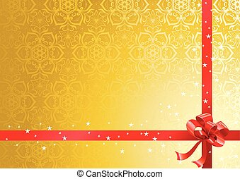 Red ribbon over gold background