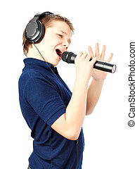 niño, canto, en, Un, microphone., muy, emotional.,