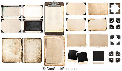 Old paper sheets, book, vintage photo frames and corners, antique clipboard