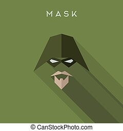 Hero, superhero Mask flat style, vectors logo