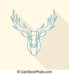 deer frame - polygonal illustration of deer, wire frame
