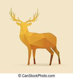 deer polygon golden silhouette - deer polygon golden orange...