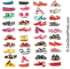 Collection of shoes. Children's shoes isolated