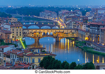 River Arno and Ponte Vecchio in Florence, Italy - River Arno...