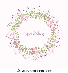 Spring card with abstract flowers
