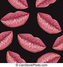 seamless pattern with woman lips