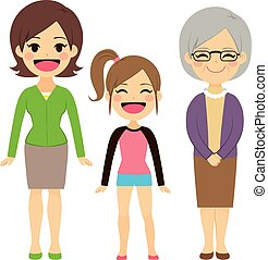 Three Generation Women - Illustration of three generations...