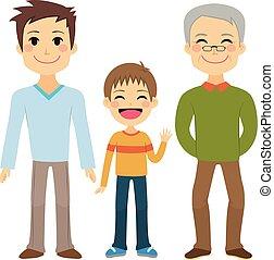 Three Generation Men - Illustration of three generations of...