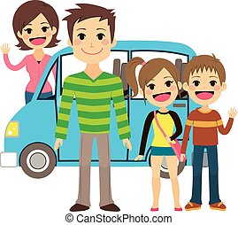 Family Going On Vacation Trip - Illustration of cute family...