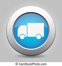 blue metal button with lorry car