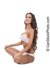完美, 身體, 婦女, 瑜伽, 概念, 迷人