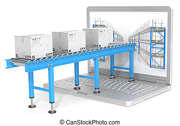 Distribution. - Industrial Conveyor with cardboard Boxes...