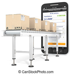 Mobile Payments. - Industrial Conveyor with cardboard Boxes...