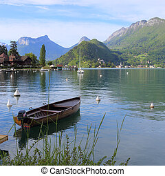 Annecy lake in the alps