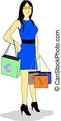 Woman goes shopping - Woman dressed in blue dress and black...