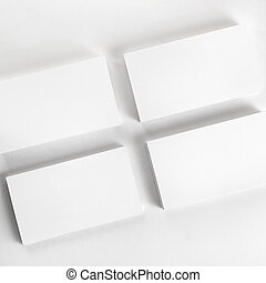 Business cards - Photo of blank business cards on a light...